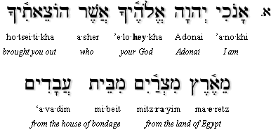 First Commandment in Hebrew
